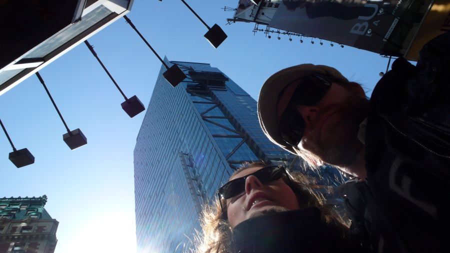 Sarah and Foxy in Times Square