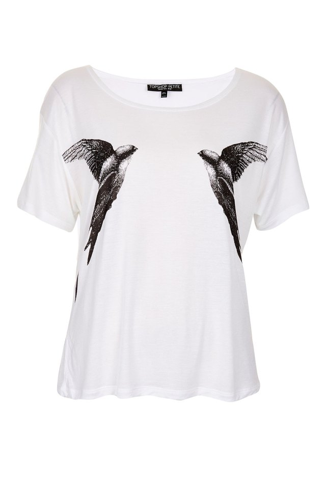 Petite Mirror Bird Tee from Topshop