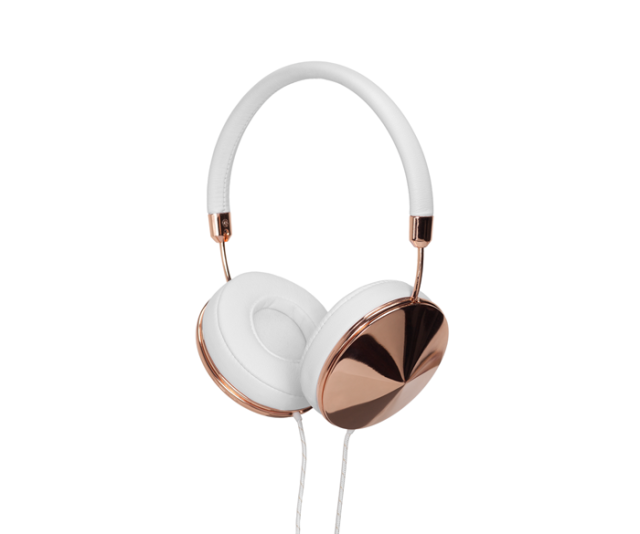 Taylor Headphones in White Leather and Rose Gold
