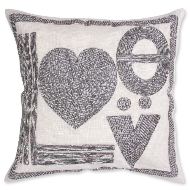 Love beaded linen pillow