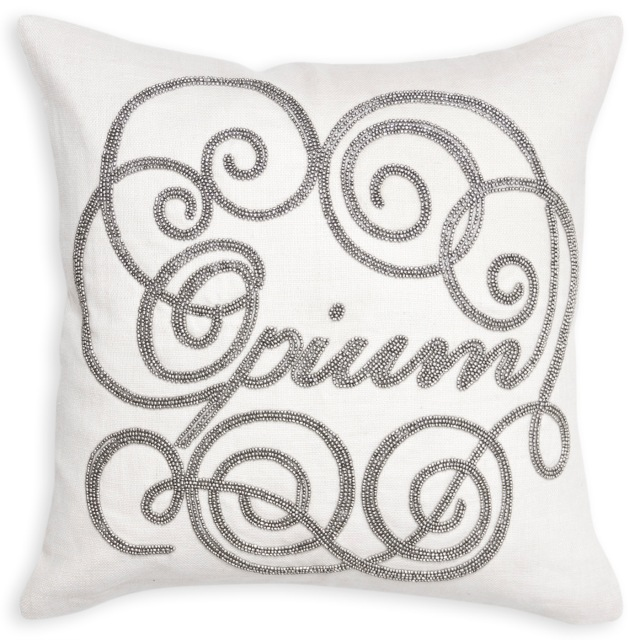 Opium beaded linen pillow