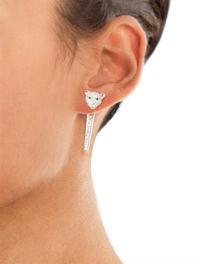 Diamond & white gold single tiger earring