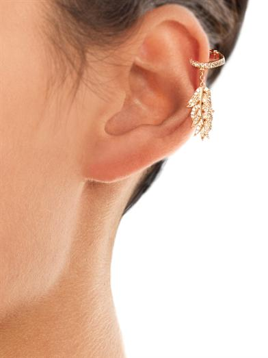 Diamond & pink gold clip feather earring