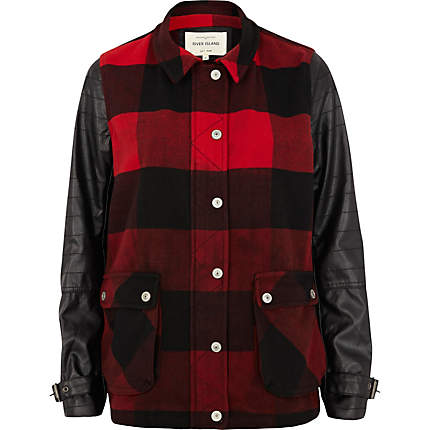 River Island check jacket with contrast sleeves - €87