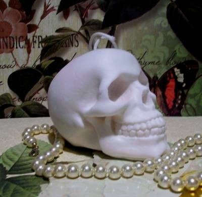 White Beeswax Skull Candle by Catfish Creek Candles