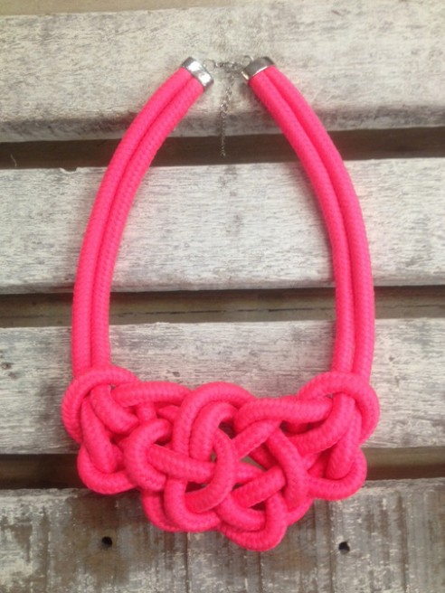 Neon Pink Knotted Rope Necklace