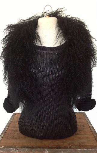 Black Shearling Collar
