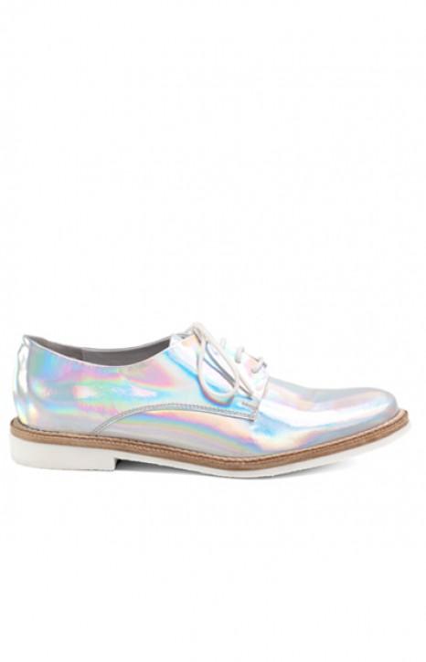 """Miista """"Zoe"""" brogues in iridescent silver"""