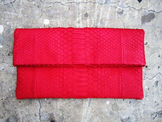 Neon Red Fold Over Python Snakeskin Leather Clutch Bag - €89.02