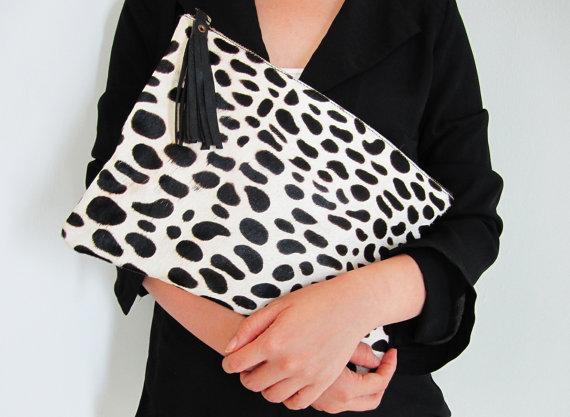 Dalmatian Print Calf Hair Zipper Pouch Leather Clutch - €70.16