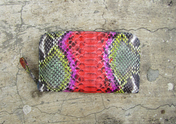 Hand Painted Multi Color in Pink Orange and Yellow Bi Fold Python Snakeskin Leather Zippered Wallet - €67.14