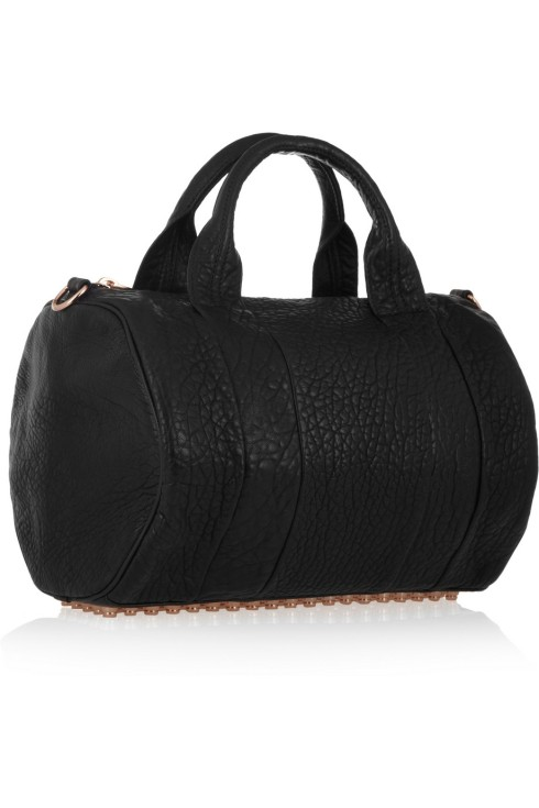 The Rocco tote in black textured leather with rose gold studs