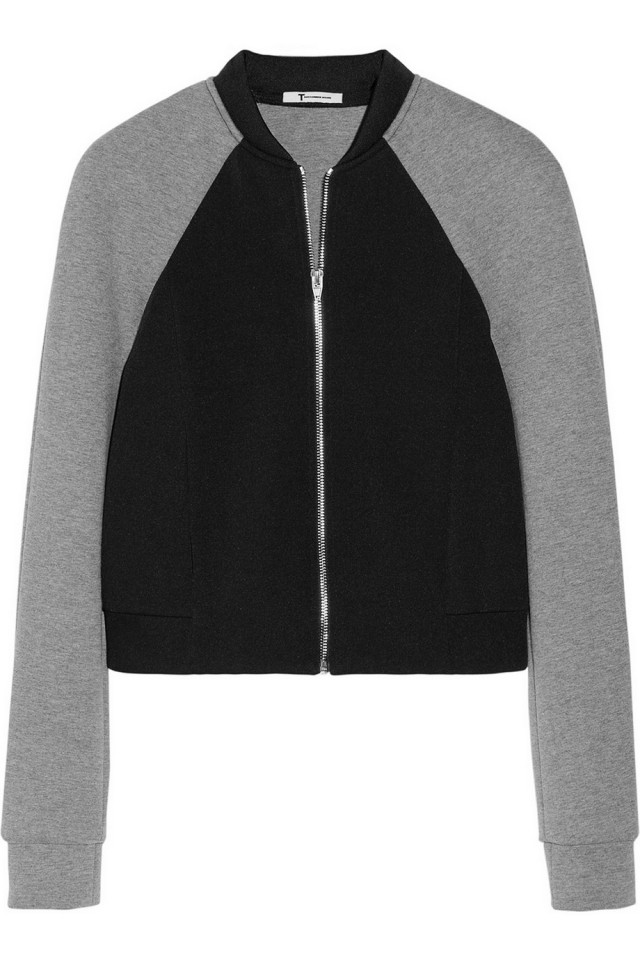 Two-tone neoprene bomber jacket