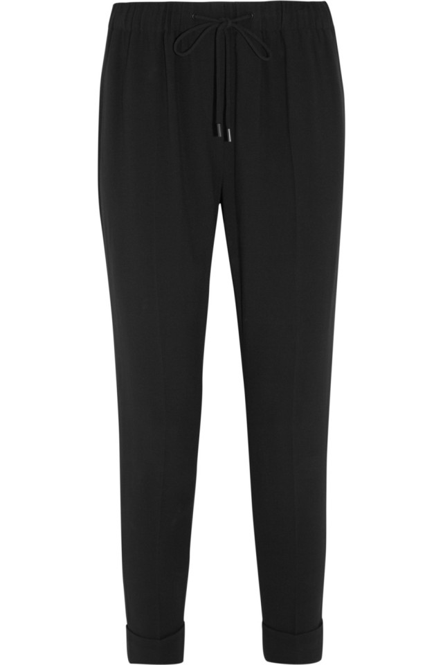 Drawstring crepe tapered trousers