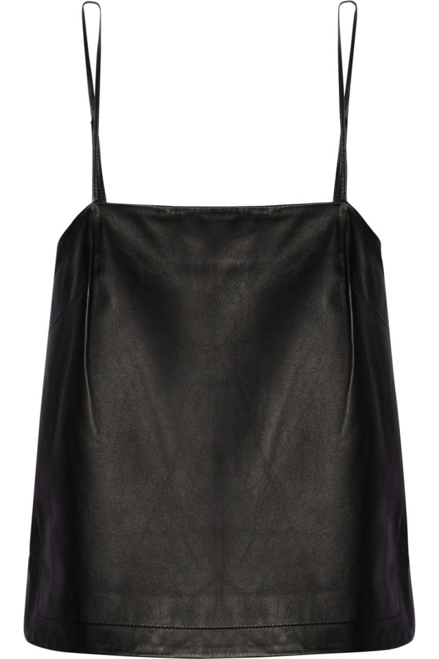 Cropped leather camisole