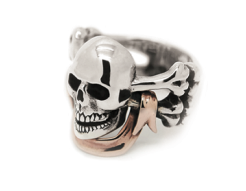 Skull and Crossbones with Rose Gold Banner