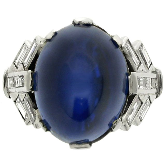 Cabochon Sapphire Diamond Ring from 1stdibs