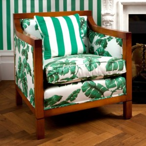 TAROVINE upholstery fabrics and LONDON STRIPE wallpaper